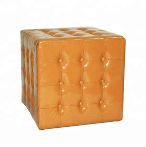 New Arrivals Entryway Furniture Yellow Leather Square Floor Pouf