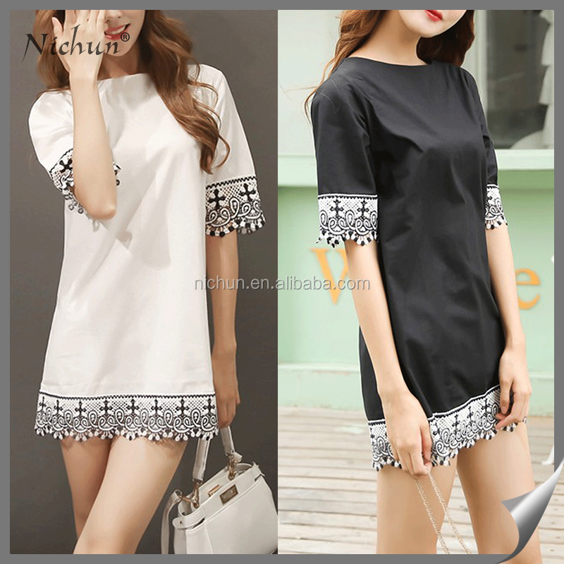 Black and white simple short sleeve tassel lady dress cotton design