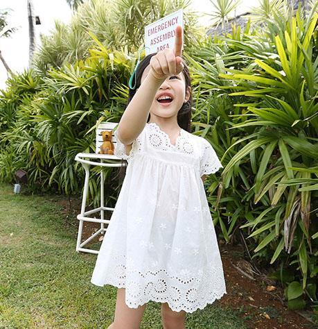 2015 summer new arrival girl cotton lace dress for kids children clothes white lace princess korean
