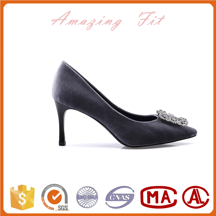 New Arrival 2017 women's high heels shoes rhinestone kitten heels for ladies