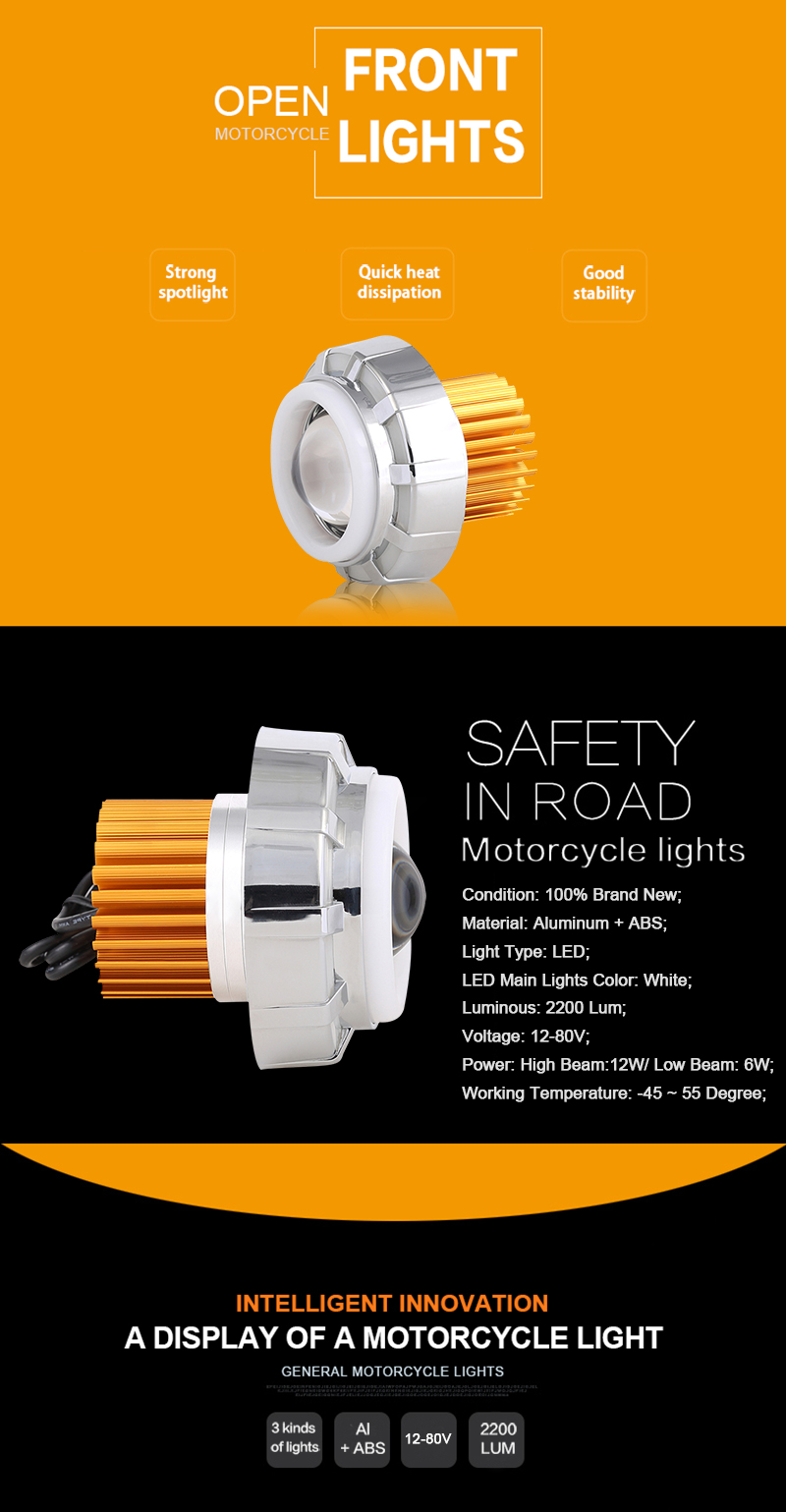 Motorcycles auto lighting LED headlight projector