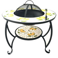 Factory Price Outdoor Round Mosaic Top Metal BBQ Fire Pit Table For Garden Fireplace