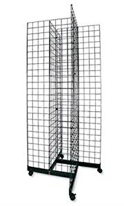 "White 4-Way Grid Base with Casters Use with existing 3/"" on Center Wire Grid Panels"