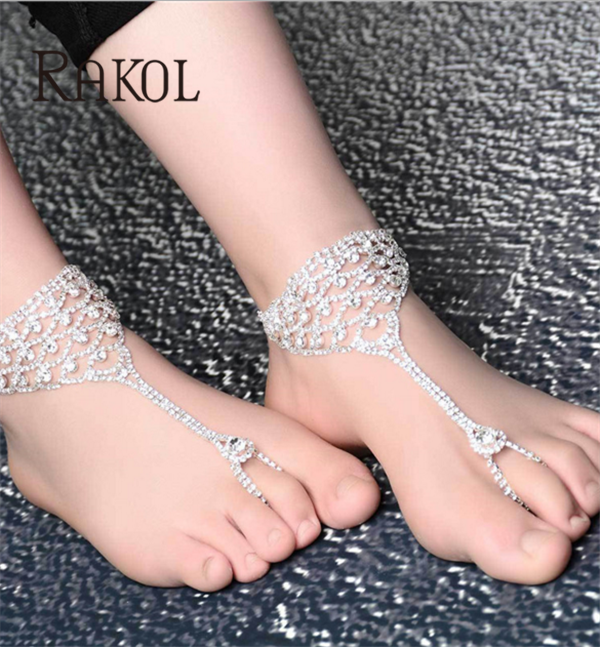 YiWu factory manufacture cheap price crystal clear rhinestone silver metal chain custome anklet