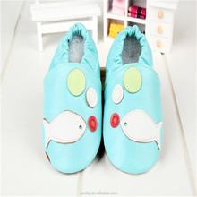 blue sheepskin leather toddlers baby shoes with fish pattern