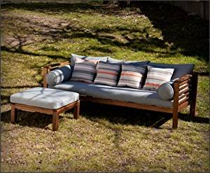Lola Contemporary, Mission Oiled Hardwood with Gray and Multicolor Eucalyptus Deep Seating 2pc Set