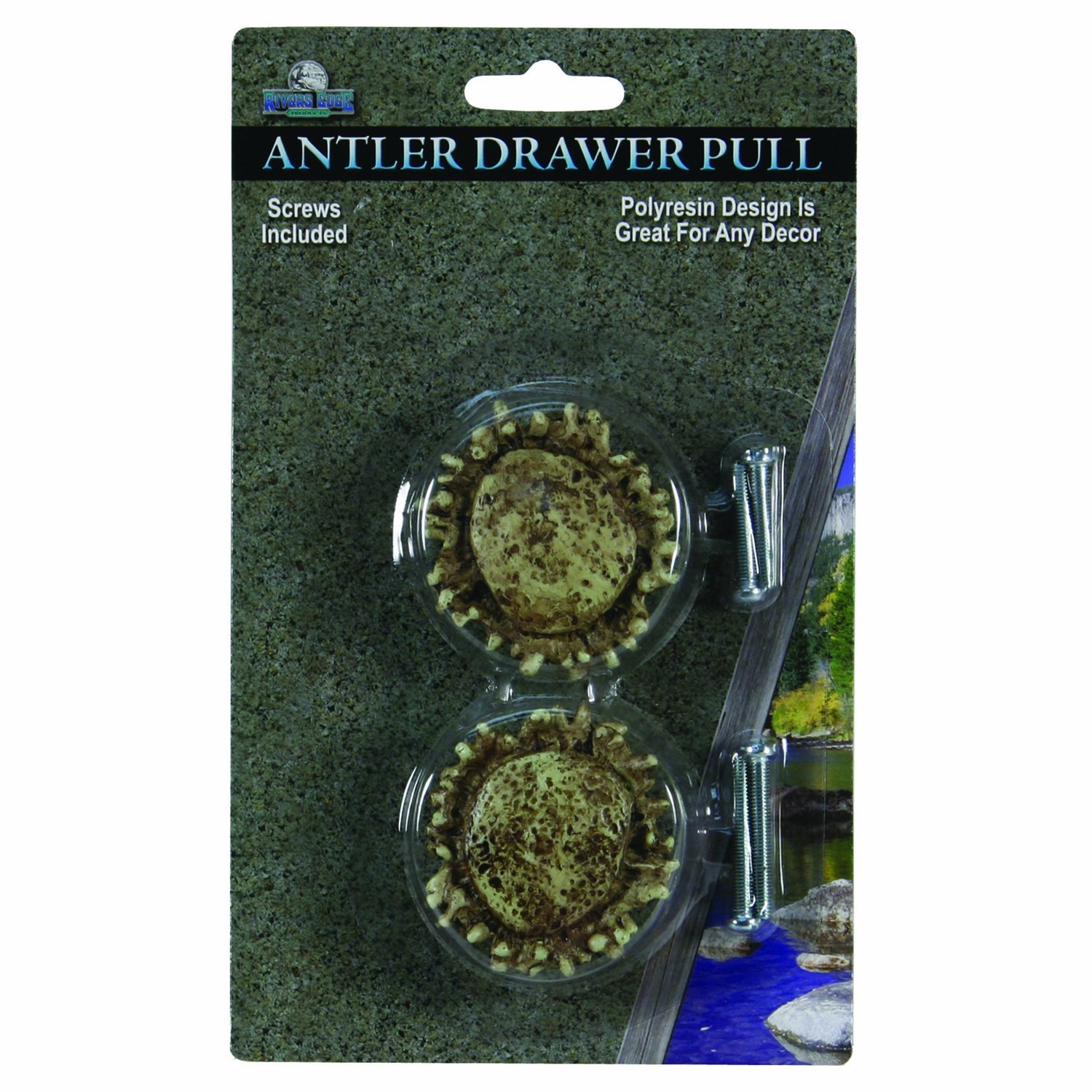 River's Edge Products REP 2 Pk Antler Drawer Knobs 657