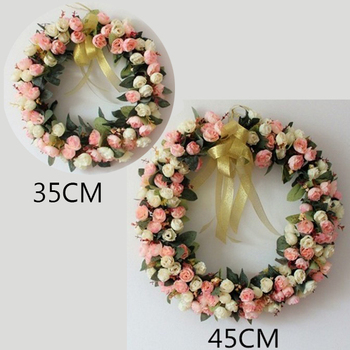 Artificial Silk Rose Flower Wreath Garland For Front Door Home Wall