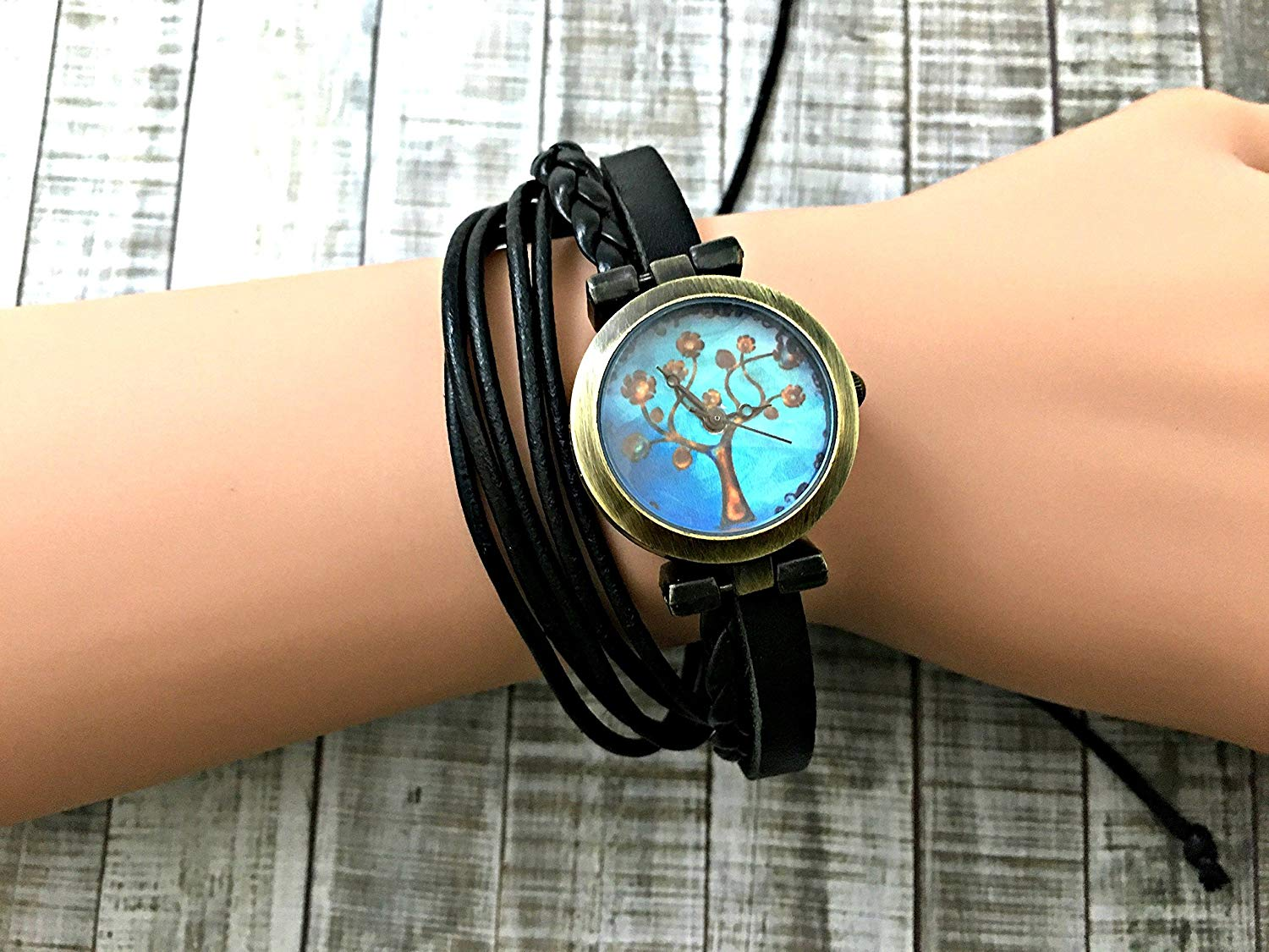 Tree Wrap Bracelet Leather Watch, Leather Wrap Bracelet Watch, Leather Wrap Art Watch, Vintage Retro Wrap Bracelet Watch, Wrap Genuine Leather Watch 012