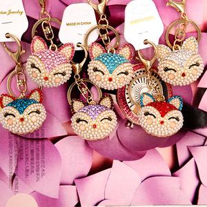 3f0aa48b55 Promotional gift rhinestone custom keychains for hanging bags with fox head  metal custom key chain