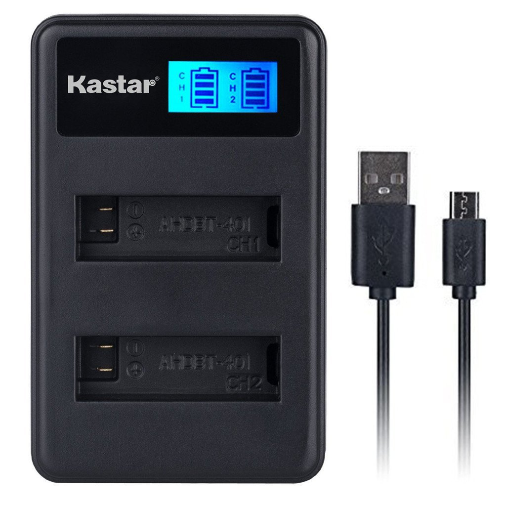 Kastar LCD Dual Slim Charger for GoPro HERO4 and GoPro AHDBT-401, AHBBP-401 Sport Cameras