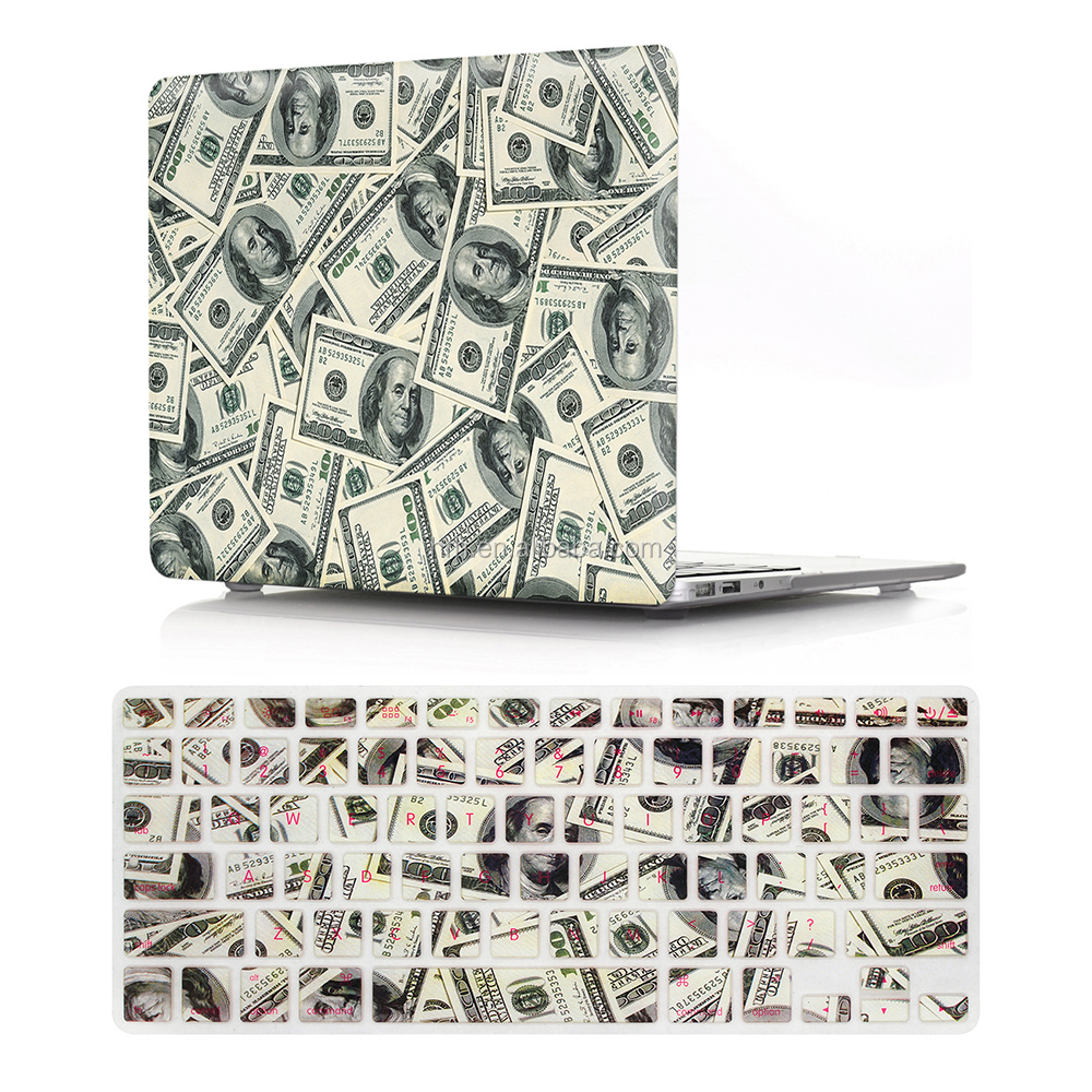 US Dollar 2 in 1 keyboard cover and hard case sleeve for macbook case retina 13 15 17 inch