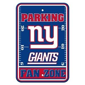 "New York Giants NFL ""Fan Zone"" Parking Sign 12"" x 18"""