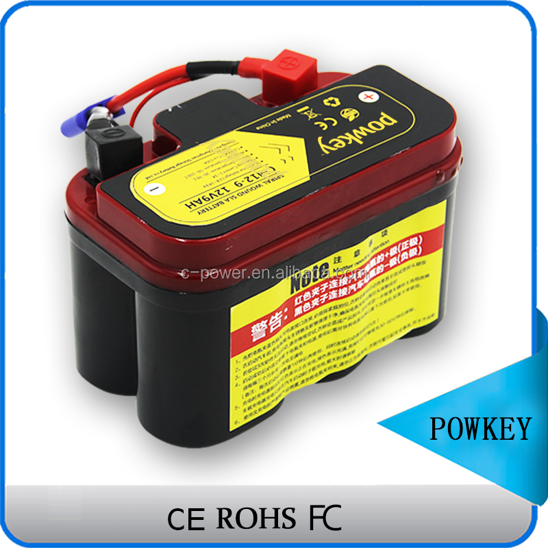 Powkey new rechargeable 12v 9ah motorcycle lead acid battery