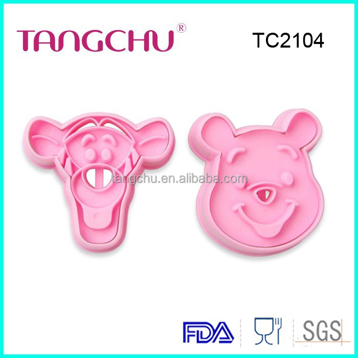 TC2104 2pcs/se Winnie the Pooh and Tigger Shapes DIY Fondant embossing die sugar Plastic Cookie Cutter