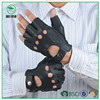 Perforated Unlined Deerskin Leather Men's Driving Half Finger Gloves