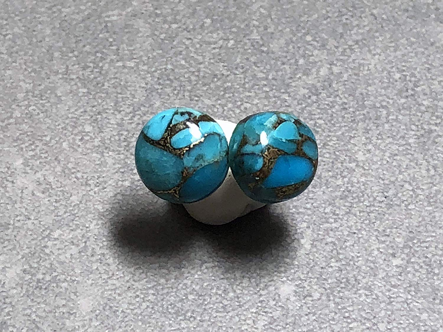 10mm Blue Copper Turquoise and Sterling Silver Post Earrings
