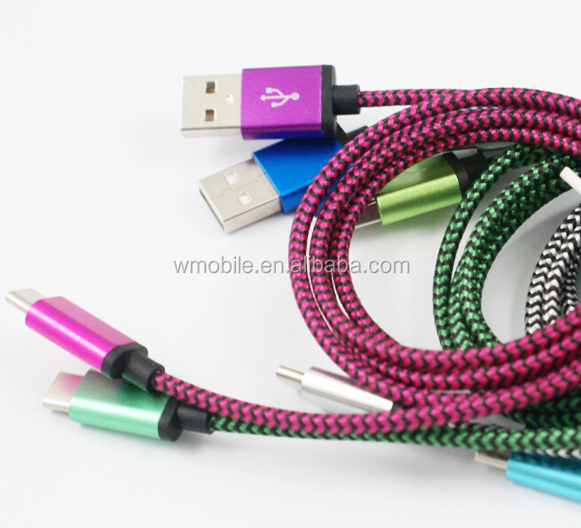 Flat usb cable 3.1 type-c to usb 2.0 A male with braided line and metal case for type-c devices supported