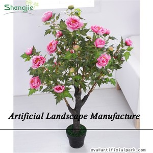 SJZJN 435 Different Type of Fake Green Plant with Flowers /Artificial Green Plant with Flower