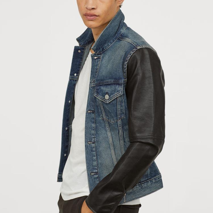 Leather Sleeves Denim Jacket For Men My Blog