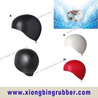 Silicone hair&ear protection swim caps for women