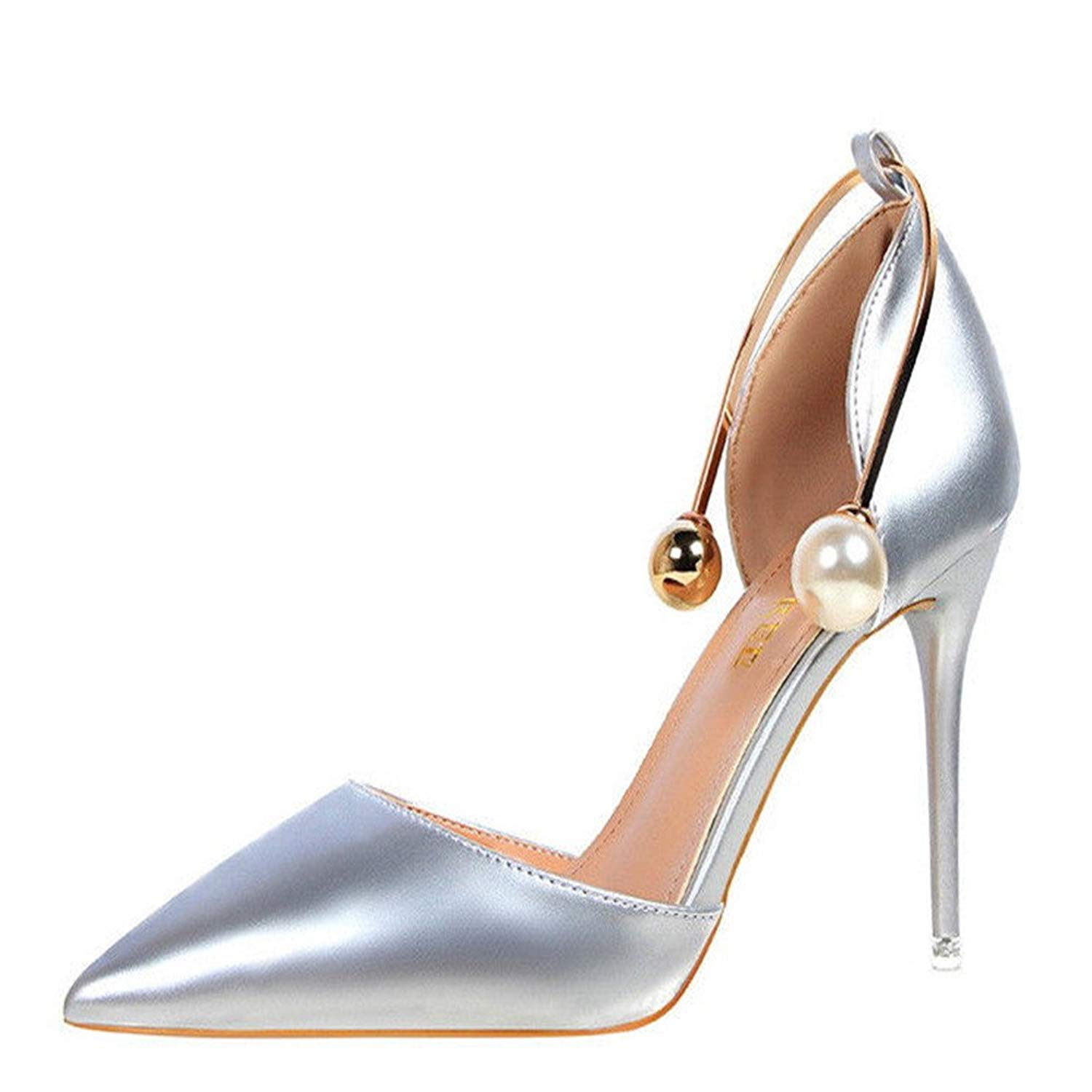 beb41a55b23c Get Quotations · Manyis New Women High Heels Shoes Ankle Pearl Stilettos  Pointed-Toe Metal Pump Sandals