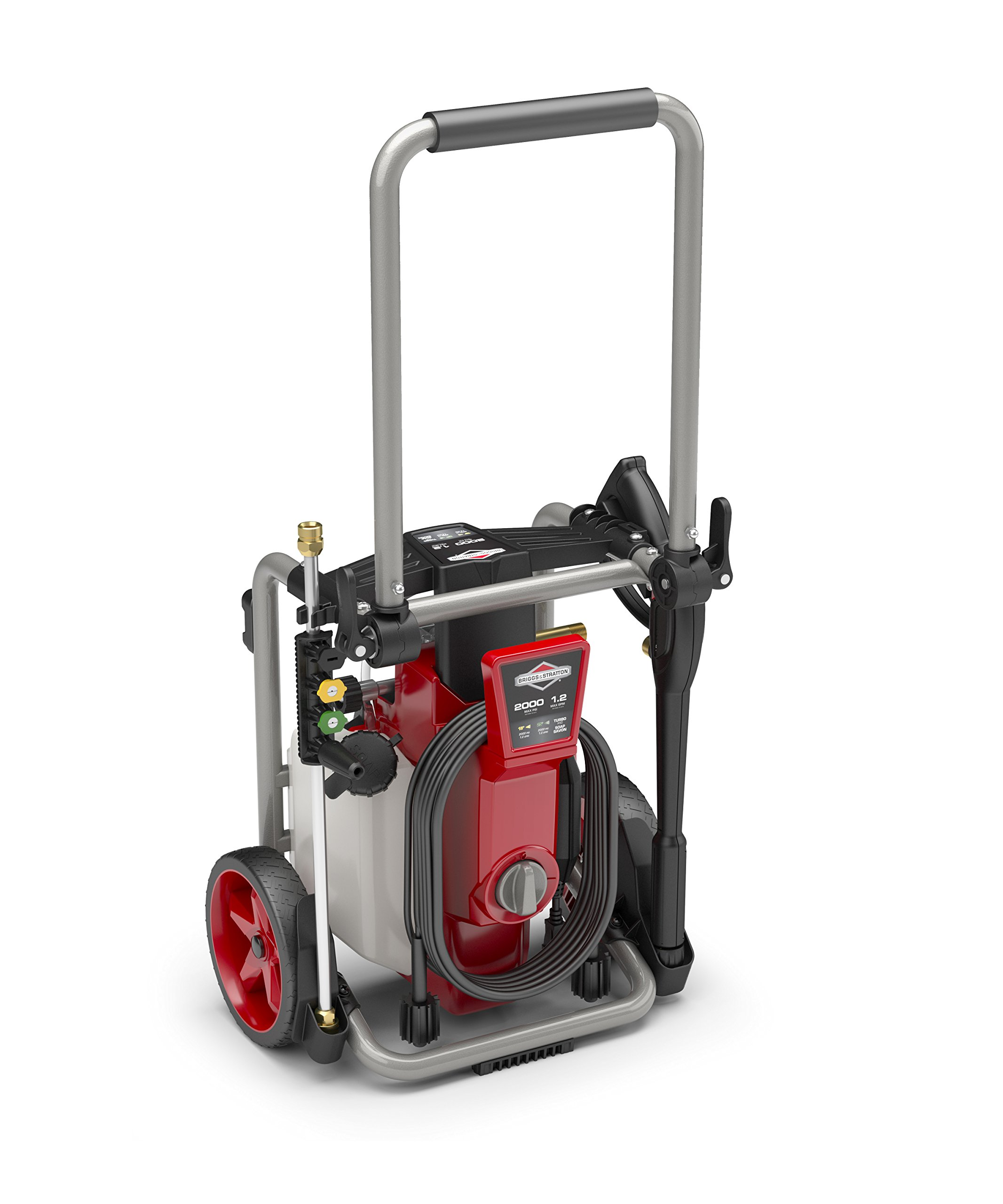 Briggs & Stratton 020681 Electric Pressure Washer 2000 PSI 1.2 GPM with 25-Foot High Pressure Hose, 4 Nozzles & Detergent Tank