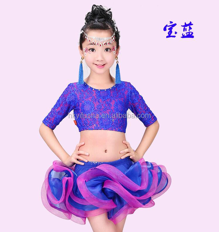Girls lace latin dance costume lace top and ruffle tutu