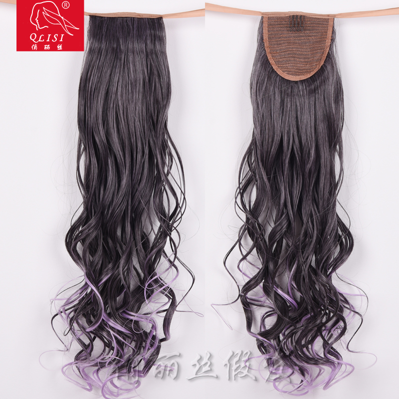 New Product 20 Inch Curly Black Long Curly Claw Clip Synthetic Ponytail