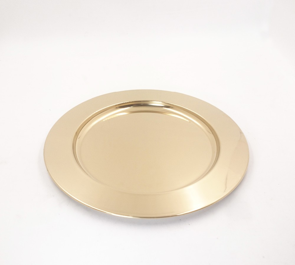 Food safety Metal 13inch Silver Round Charger Dishes Glitter golden charger plates For Wedding Party