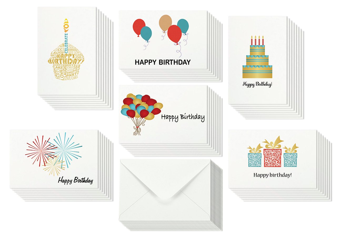 48 Happy Birthday Card Bulk Assortment Set – 6 Fun Designs with Blank Inside – 4 x 6 Inch Cards Include Envelopes and Card Storage Box