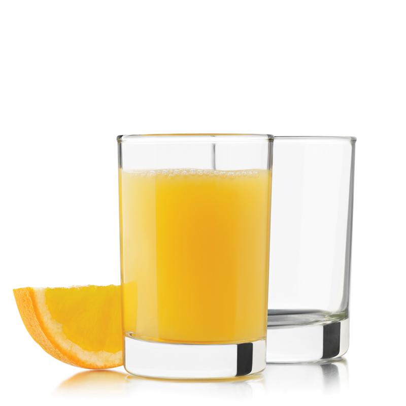 Zumo de naranja pequeño de vidrio de jugo de fruta y jarra Conjunto de 4 piezas y una jarra