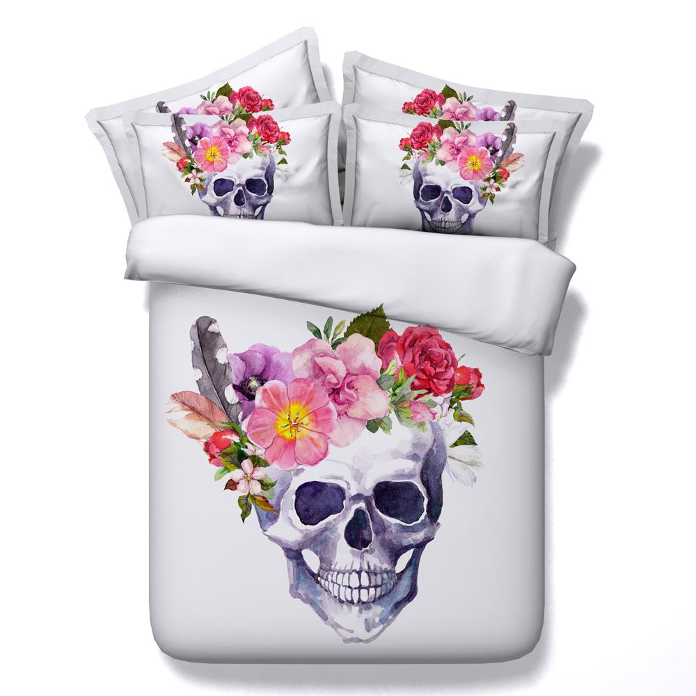 Cráneo De Azúcar Con Flores Boho Chic 3d Lecho - Buy 3d Juego De ...