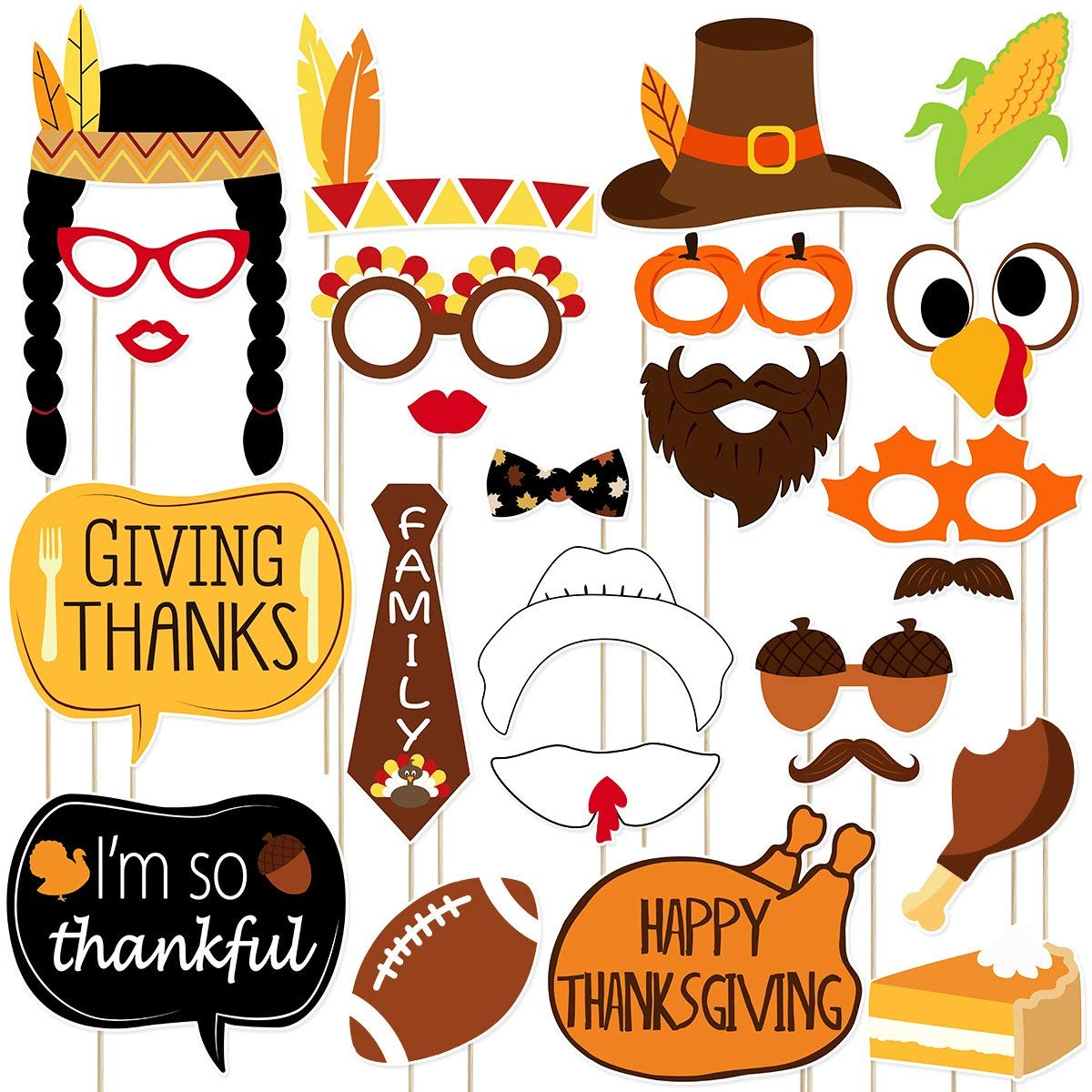 LUOEM Thanksgiving Day Photo Booth Props 25 Pieces Funny Turkey Day Kits DIY Selfie Props with Stick for Happy Thanksgiving Party Favors