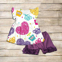 Baby Girls , Summer short Ruffle Outfit, Little Girls Boutique wholesale boutique100% cotton baby girl outfit