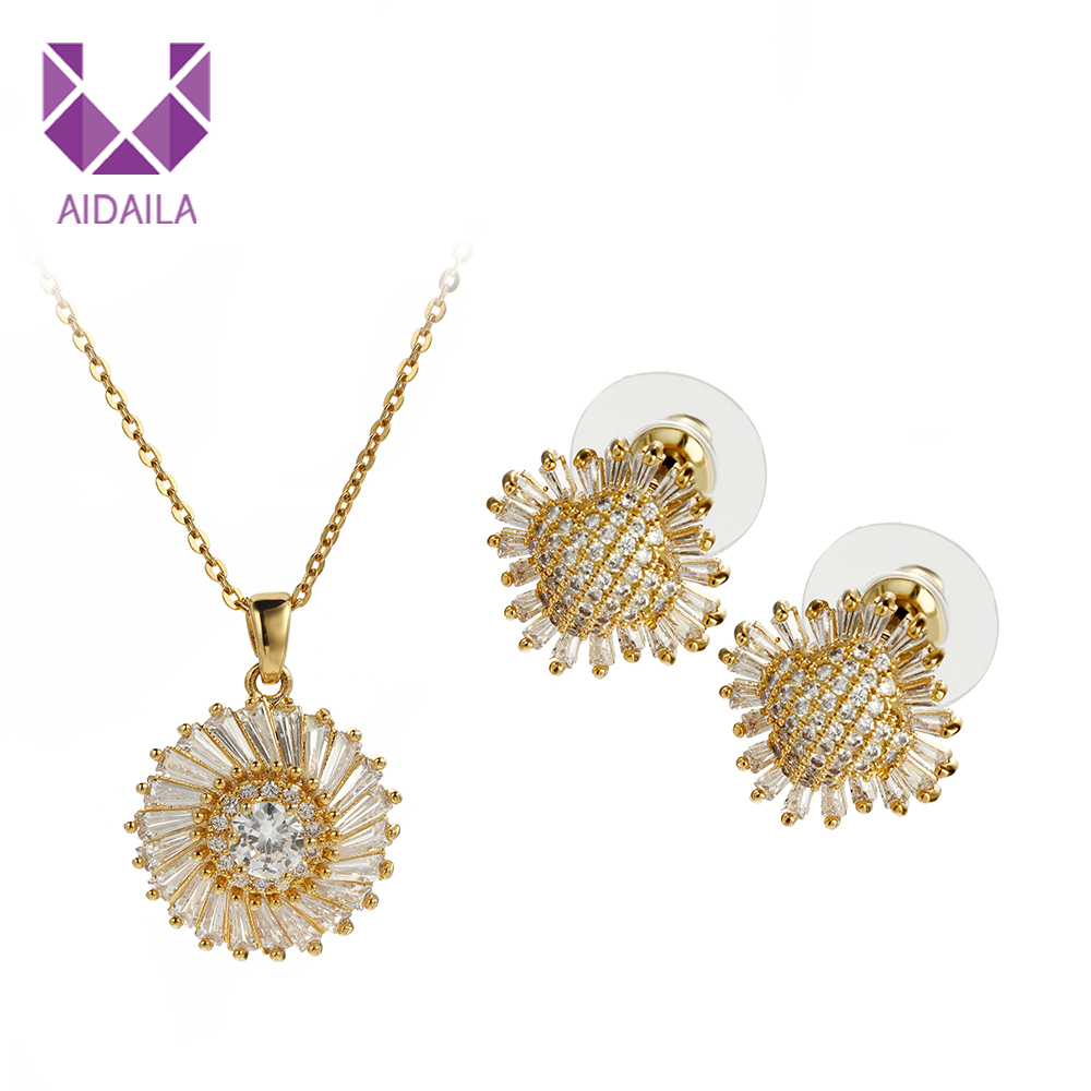 AIDAILA Gold Jewelry Women 18K Gold Plated Sunflower Necklace Set For Gift фото