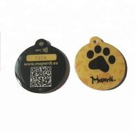 cheap custom printed QR code and URL epoxy nfc pet ID collar tag for dog / cat tracking