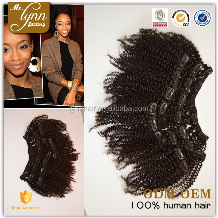 Shedding free tight curly ombre kinky curly clip in hair extensions