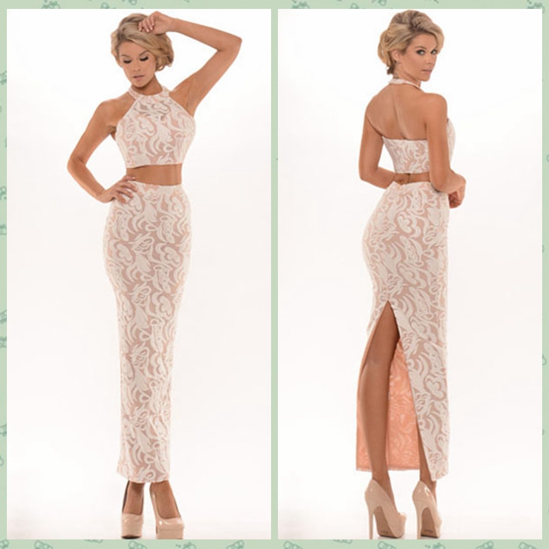 2015 Hot Summer Sexy Women Floral Lace 2 Piece Set Halter Crop Top Long  Maxi Skirt Bandage Bodycon Backless Party Clubwear Dress 4a863c186