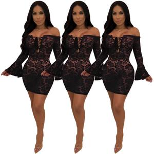 Sexy club wear off the shoulder long sleeves bodycon mini lace women dress