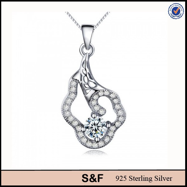 Diamond Pendant 925 Sterling Silver Bracelet Made In Italy