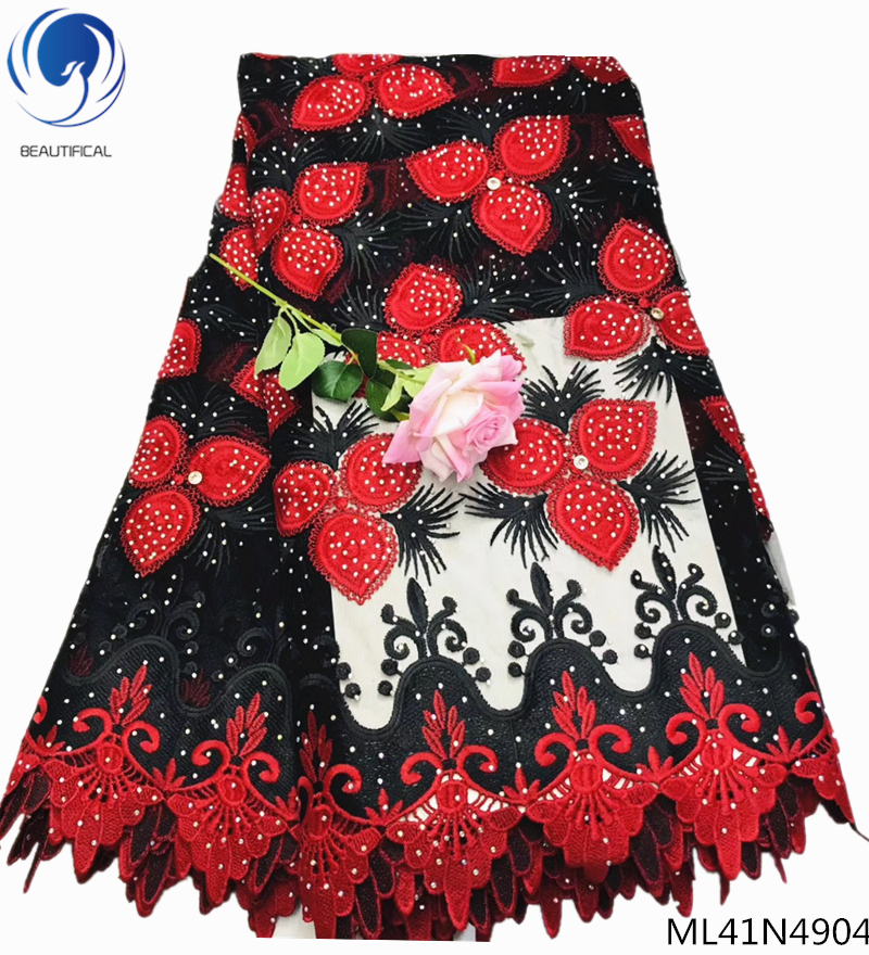 Beautifical wedding tulle french red black cotton tulle lace polyester rhinestones mesh ML41N49