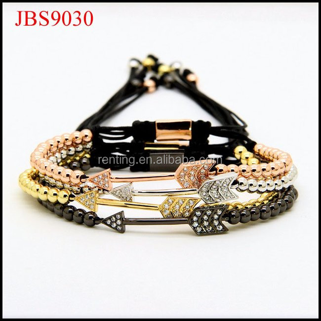 fashion CZ diamond love arrow pattern beads women macrame bracelet
