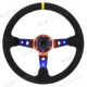 jdm racing Titanium Burnt Blue deep dish steering wheel with horn button suede for sale