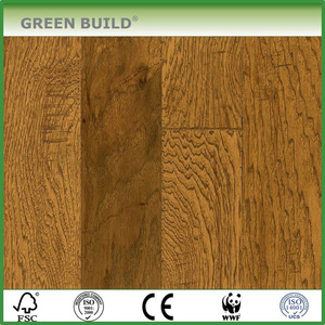 Light Chestnut Hand-scraped Hickory Wood Engineered Wooden Flooring