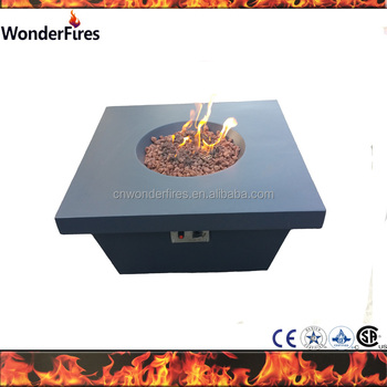 Outdoor Garden Magnesia Coffee Table High Square Gas Fire Pit Tables