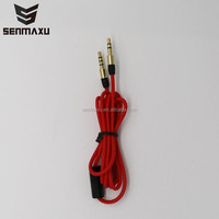 Golden Plated Aux Cable with Mic and Reomote Flat Red Audio Cable WUA087
