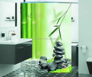 Photoreal green shower curtain,led shower curtain