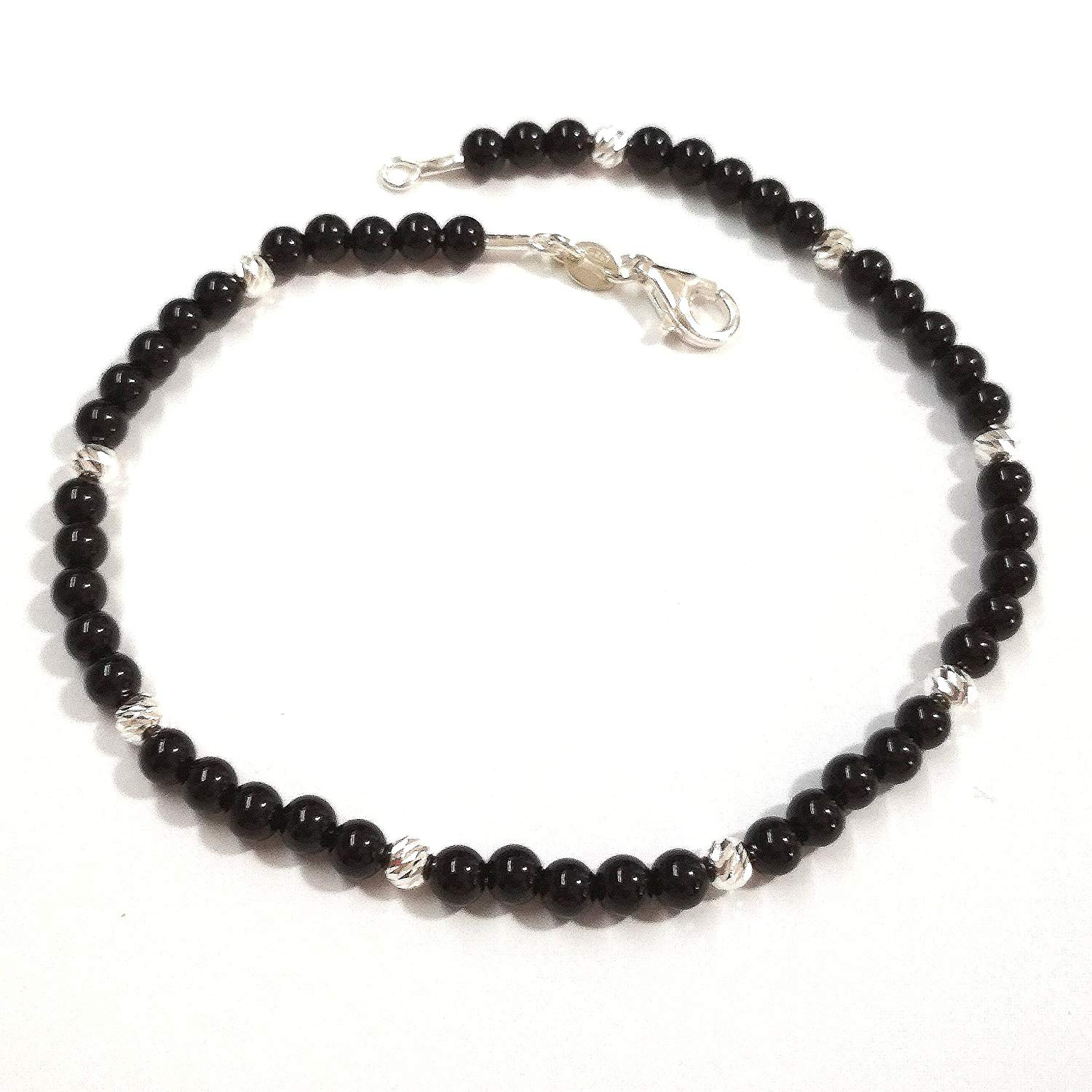 4mm Black ONYX and 925 Sterling Silver Laser Cut Beads Beaded BRACELET. Unisex. Made to your size.