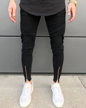 765e470ac Custom asian new fashion top 10 mens designer skinny brand jeans men rear  zipper leather knee
